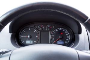 Car illuminated dashboard closeup